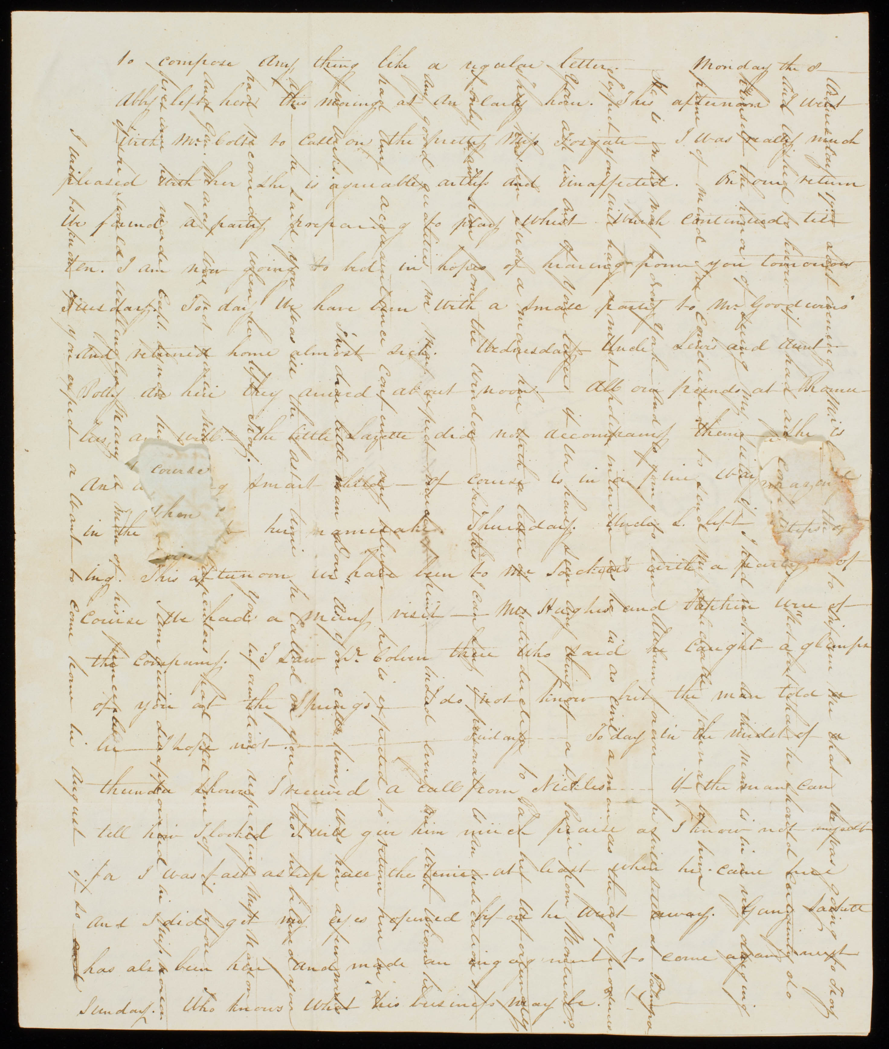 Page 3 of a letter from Lazette Maria Worden to Francis Adeline Seward dated 7 July 1822